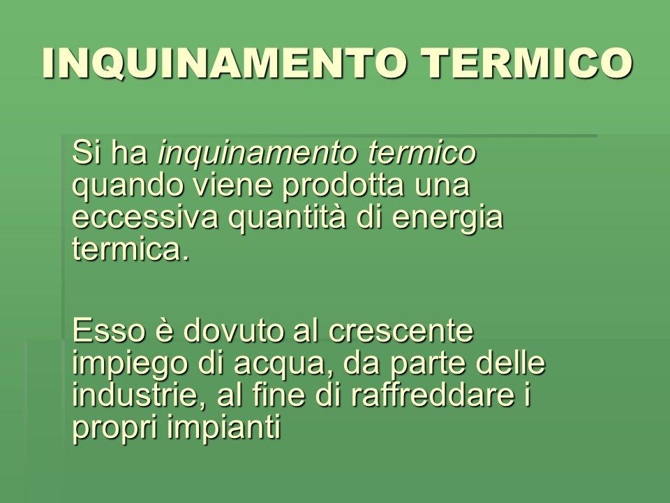 INQUINAMENTO TERMICO Si ha inquinamento termico quando viene prodotta una eccessiva quantità di energia termica.