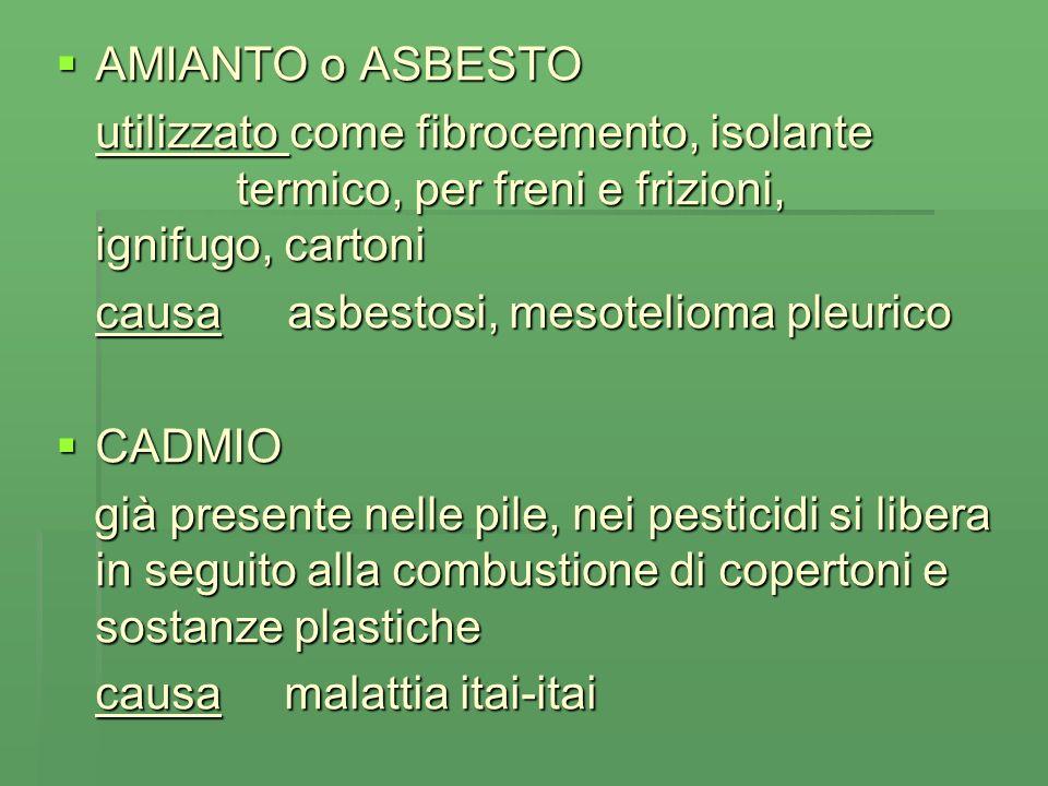 AMIANTO o ASBESTO AMIANTO o ASBESTO utilizzato come fibrocemento, isolante termico, per freni e frizioni, ignifugo, cartoni causa asbestosi, mesotelioma pleurico CADMIO CADMIO già presente nelle pile, nei pesticidi si libera in seguito alla combustione di copertoni e sostanze plastiche già presente nelle pile, nei pesticidi si libera in seguito alla combustione di copertoni e sostanze plastiche causa malattia itai-itai