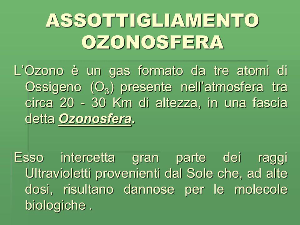 ASSOTTIGLIAMENTO OZONOSFERA LOzono è un gas formato da tre atomi di Ossigeno (O 3 ) presente nellatmosfera tra circa 20 - 30 Km di altezza, in una fascia detta Ozonosfera.