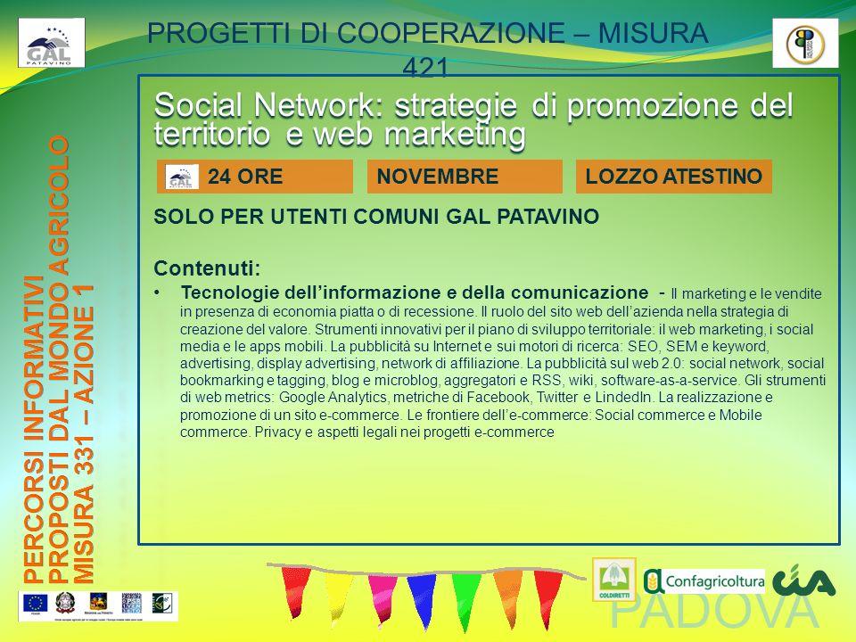 PADOVA PROGETTI DI COOPERAZIONE – MISURA 421 Social Network: strategie di promozione del territorio e web marketing SOLO PER UTENTI COMUNI GAL PATAVIN