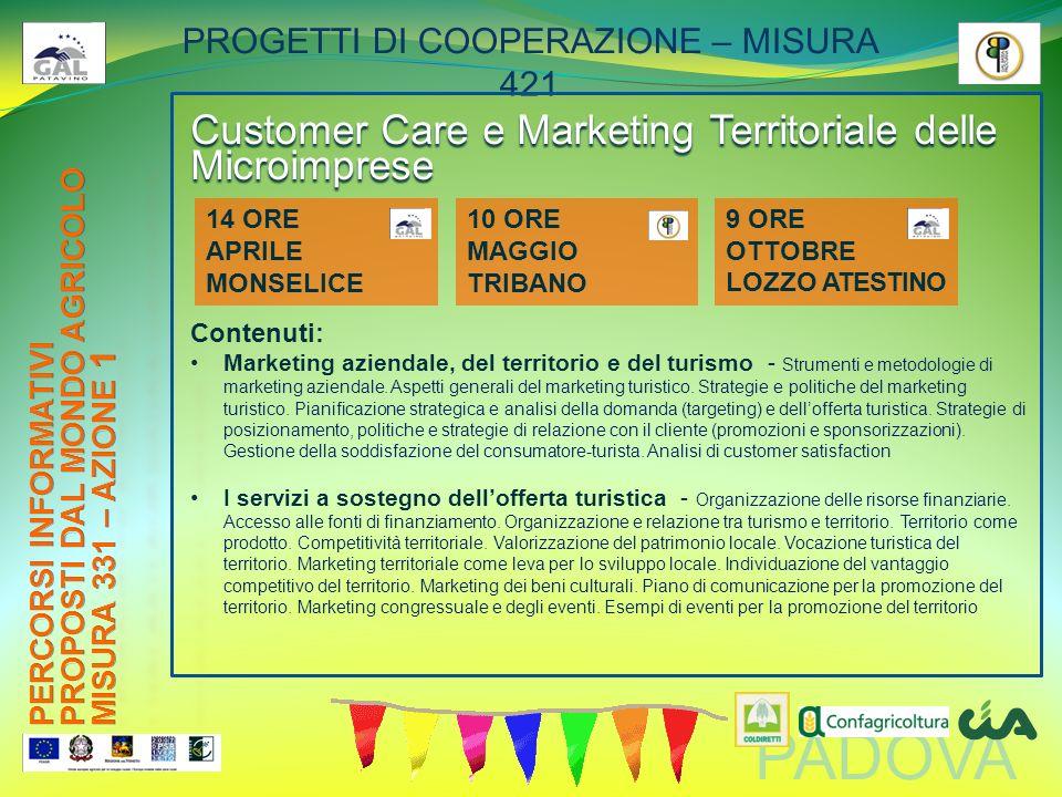 PADOVA PROGETTI DI COOPERAZIONE – MISURA 421 Customer Care e Marketing Territoriale delle Microimprese Contenuti: Marketing aziendale, del territorio