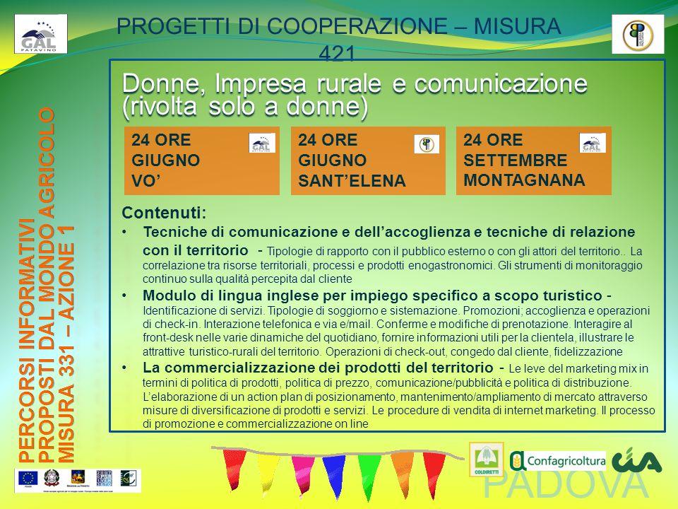 PADOVA PROGETTI DI COOPERAZIONE – MISURA 421 Donne, Impresa rurale e comunicazione (rivolta solo a donne) Contenuti: Tecniche di comunicazione e della
