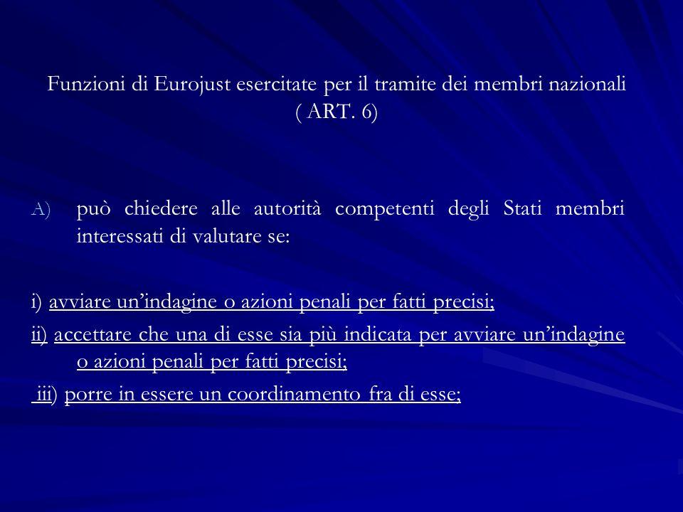 Funzioni di Eurojust esercitate per il tramite dei membri nazionali ( ART. 6) A) A) può chiedere alle autorità competenti degli Stati membri interessa