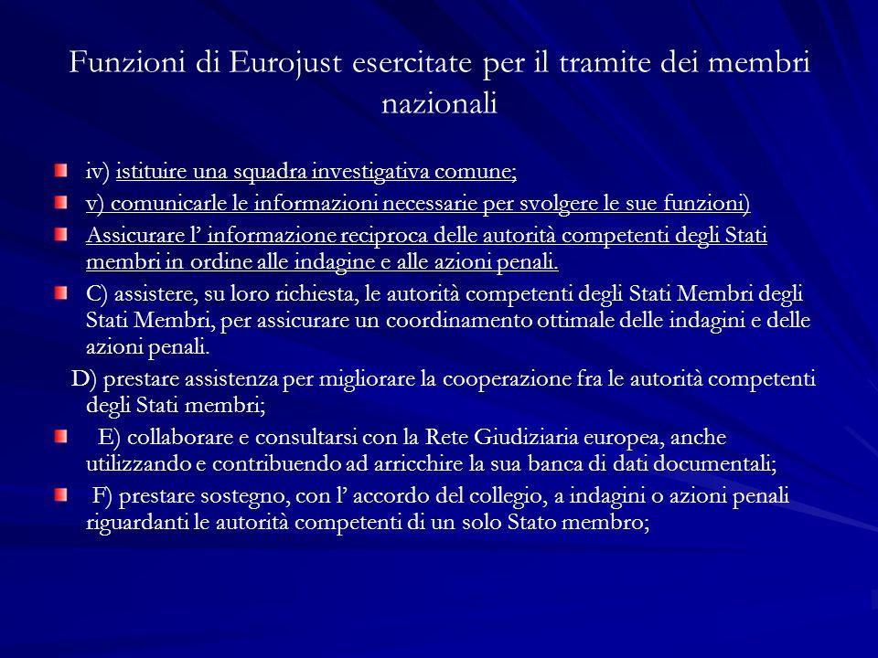 Funzioni di Eurojust esercitate per il tramite dei membri nazionali iv) istituire una squadra investigativa comune; v) comunicarle le informazioni nec