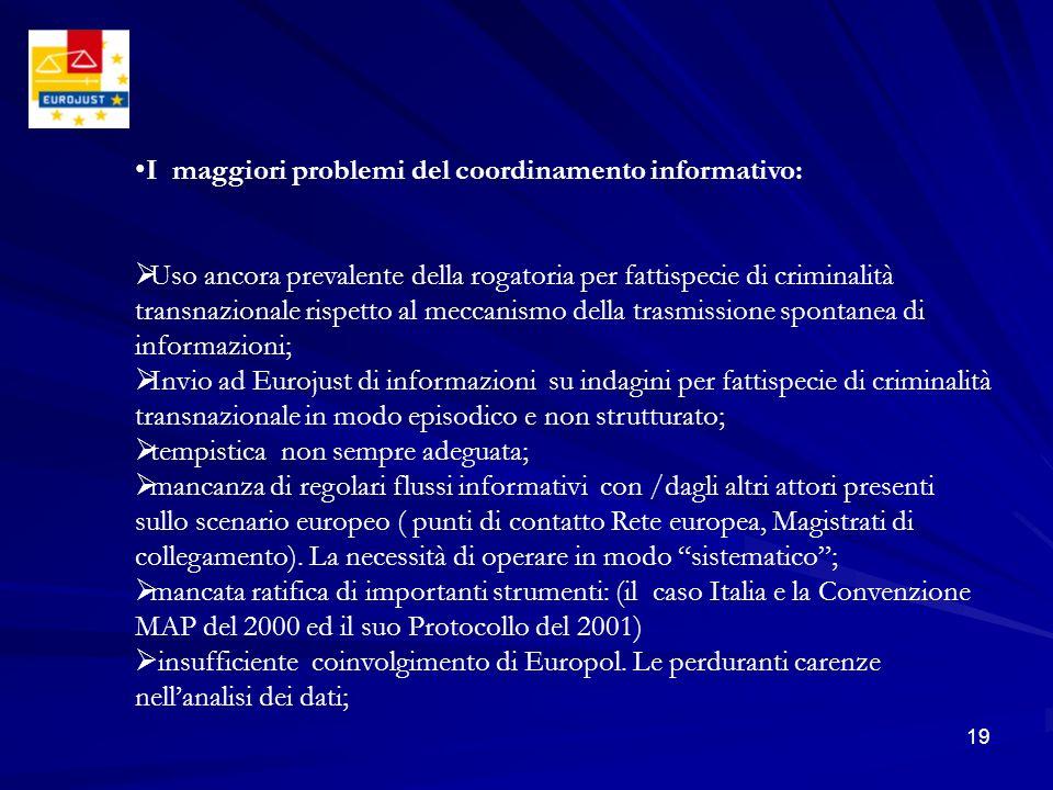 19 I maggiori problemi del coordinamento informativo: Uso ancora prevalente della rogatoria per fattispecie di criminalità transnazionale rispetto al
