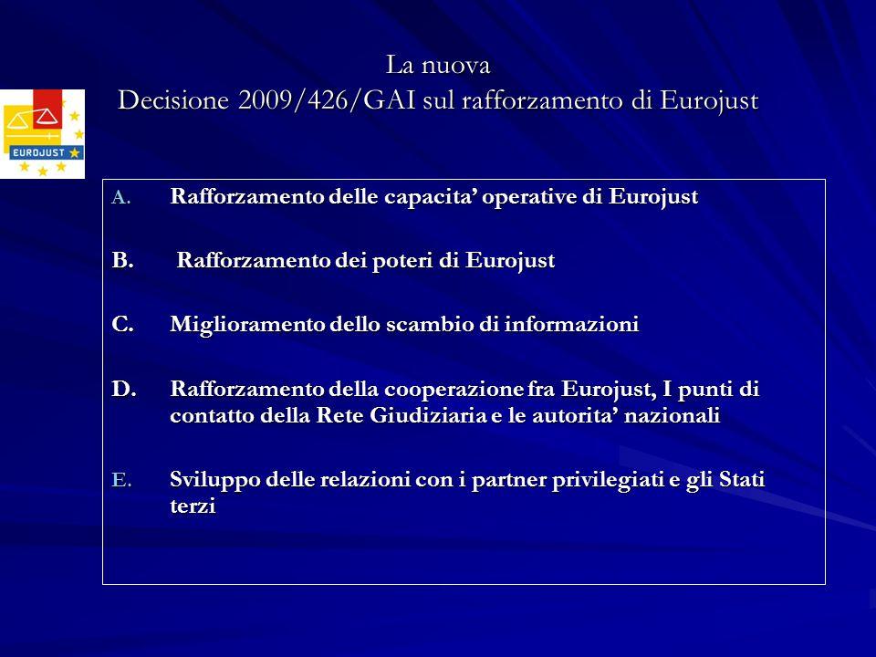 La nuova Decisione 2009/426/GAI sul rafforzamento di Eurojust A. Rafforzamento delle capacita operative di Eurojust B. Rafforzamento dei poteri di Eur