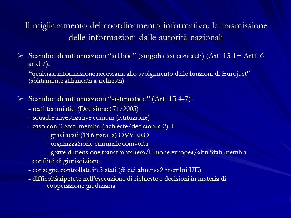 Il miglioramento del coordinamento informativo: la trasmissione delle informazioni dalle autorità nazionali Scambio di informazioni ad hoc (singoli ca