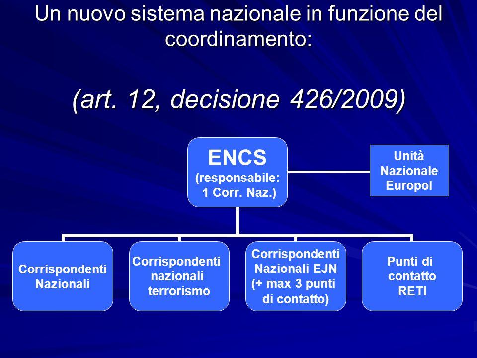 Un nuovo sistema nazionale in funzione del coordinamento: (art. 12, decisione 426/2009) Unità Nazionale Europol