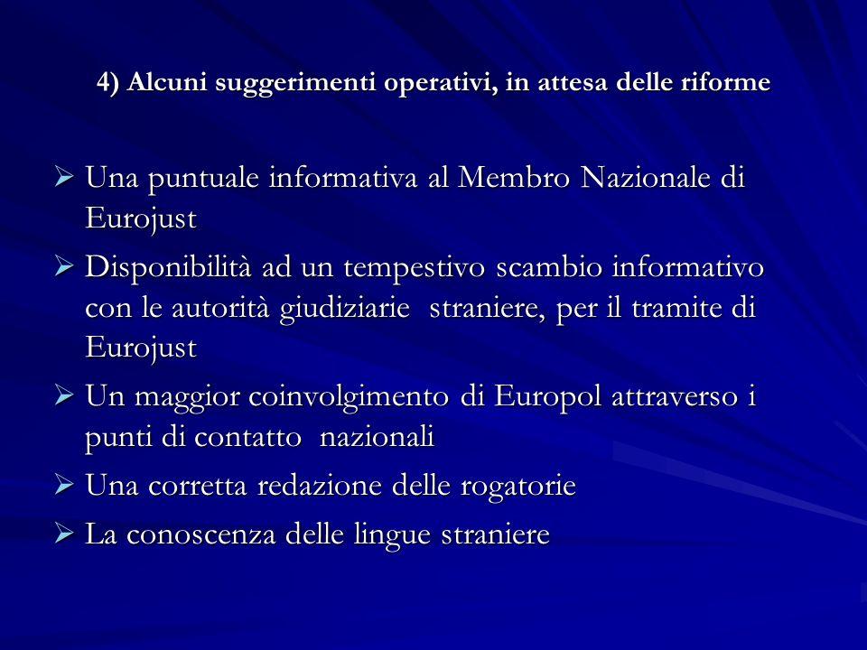 4) Alcuni suggerimenti operativi, in attesa delle riforme Una puntuale informativa al Membro Nazionale di Eurojust Una puntuale informativa al Membro