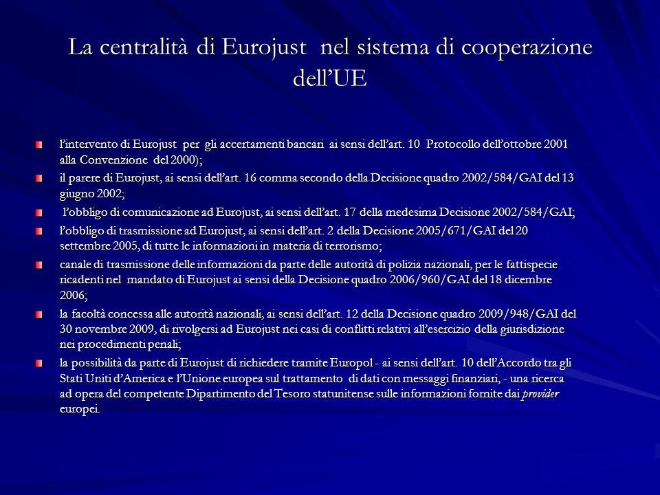 La centralità di Eurojust nel sistema di cooperazione dellUE lintervento di Eurojust per gli accertamenti bancari ai sensi dellart. 10 Protocollo dell