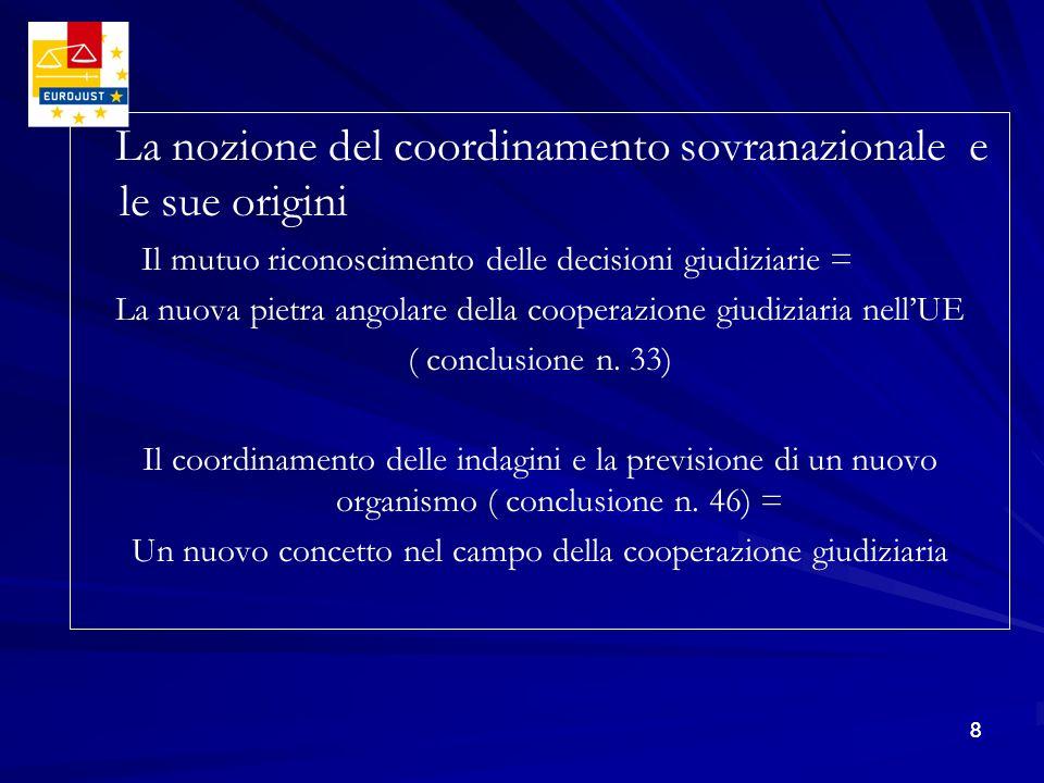 88 La nozione del coordinamento sovranazionale e le sue origini Il mutuo riconoscimento delle decisioni giudiziarie = La nuova pietra angolare della c