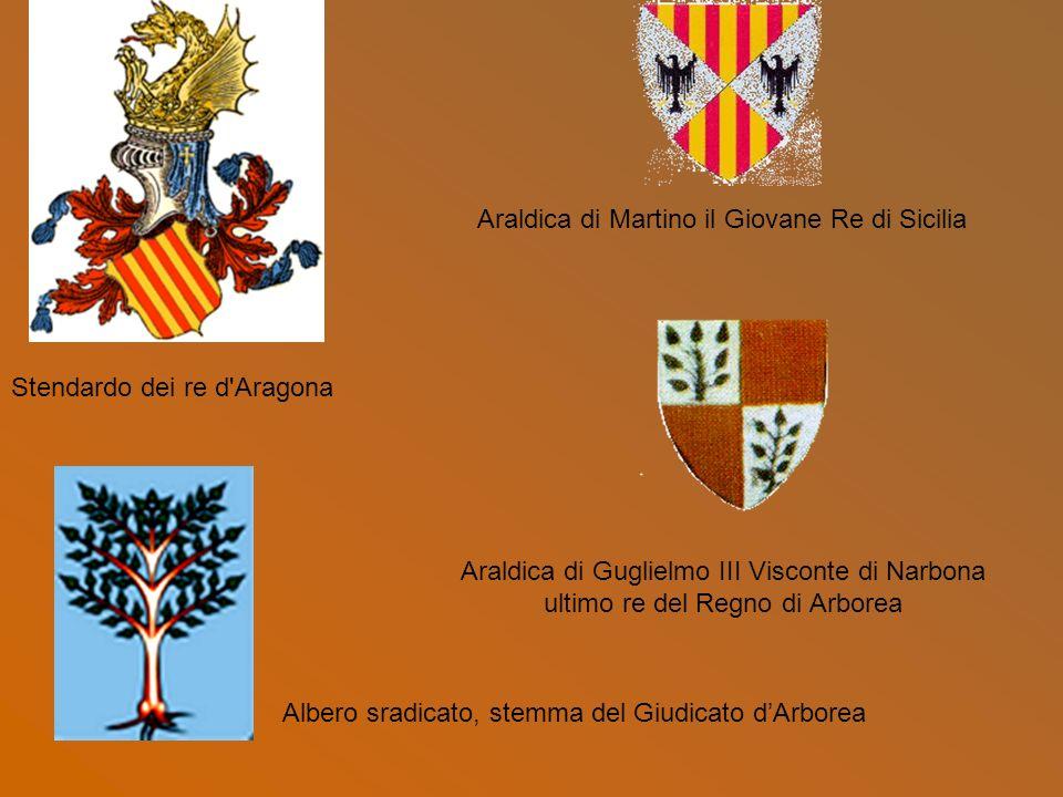 Araldica di Guglielmo III Visconte di Narbona ultimo re del Regno di Arborea Stendardo dei re d'Aragona Araldica di Martino il Giovane Re di Sicilia A