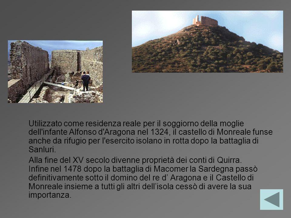 Utilizzato come residenza reale per il soggiorno della moglie dell'infante Alfonso d'Aragona nel 1324, il castello di Monreale funse anche da rifugio