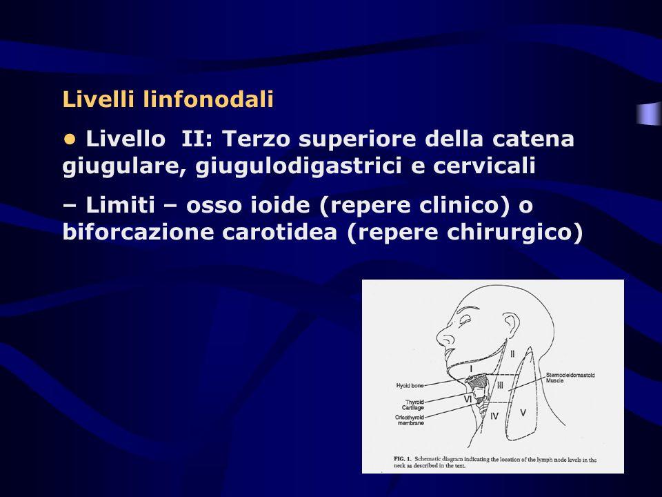Livelli linfonodali Livello II: Terzo superiore della catena giugulare, giugulodigastrici e cervicali – Limiti – osso ioide (repere clinico) o biforca