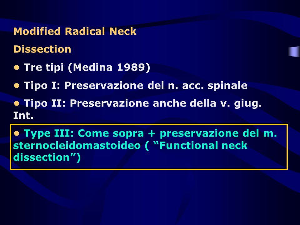 Modified Radical Neck Dissection Tre tipi (Medina 1989) Tipo I: Preservazione del n. acc. spinale Tipo II: Preservazione anche della v. giug. Int. Typ