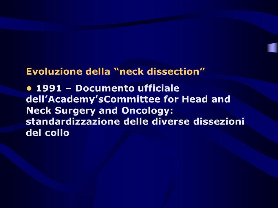 Evoluzione della neck dissection 1991 – Documento ufficiale dellAcademysCommittee for Head and Neck Surgery and Oncology: standardizzazione delle dive