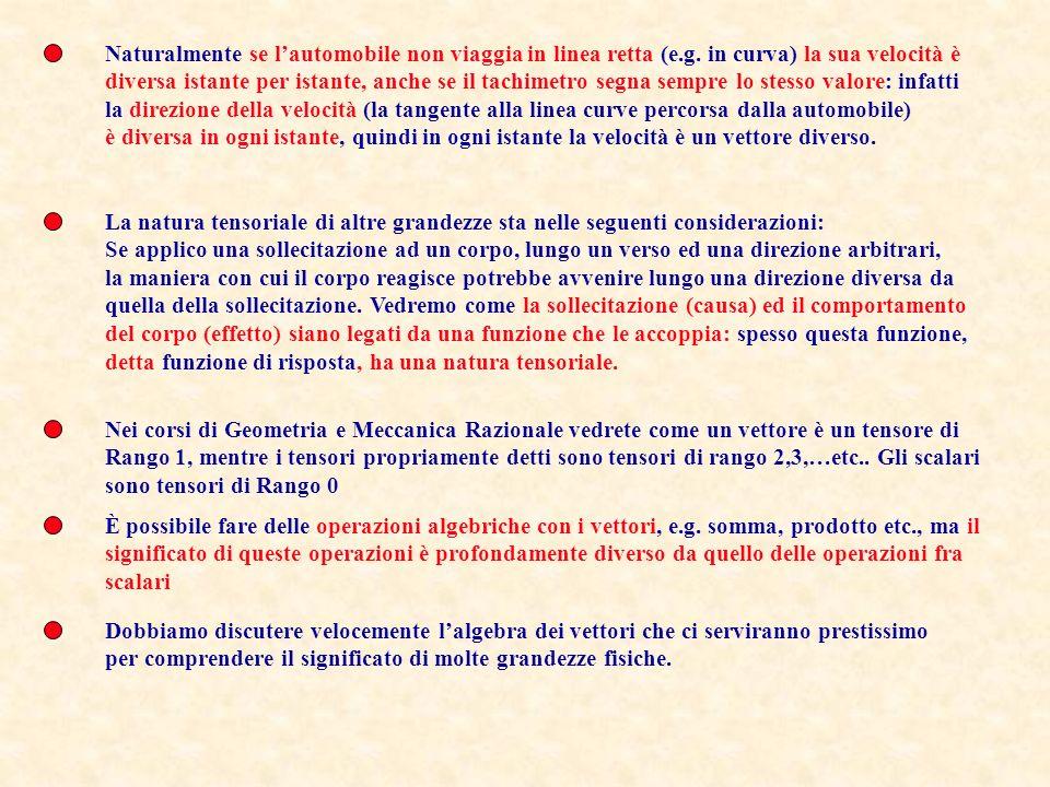 Palermo Catania Messina Molte altre grandezze sono caratterizzate da almeno tre quantità. P.es. dire che una una automobile viaggia a 100Km/ora non è