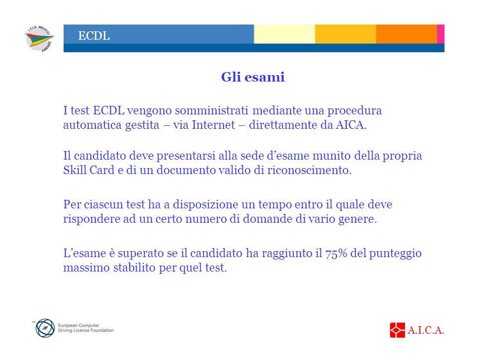 A.I.C.A. ECDL Gli esami I test ECDL vengono somministrati mediante una procedura automatica gestita – via Internet – direttamente da AICA. Il candidat