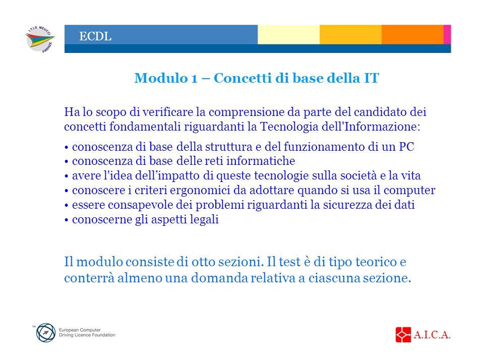 A.I.C.A. ECDL Modulo 1 – Concetti di base della IT Ha lo scopo di verificare la comprensione da parte del candidato dei concetti fondamentali riguarda