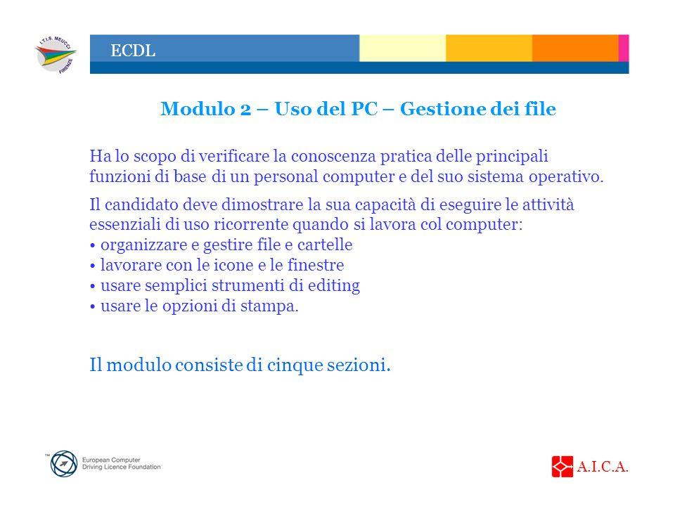 A.I.C.A. ECDL Modulo 2 – Uso del PC – Gestione dei file Ha lo scopo di verificare la conoscenza pratica delle principali funzioni di base di un person