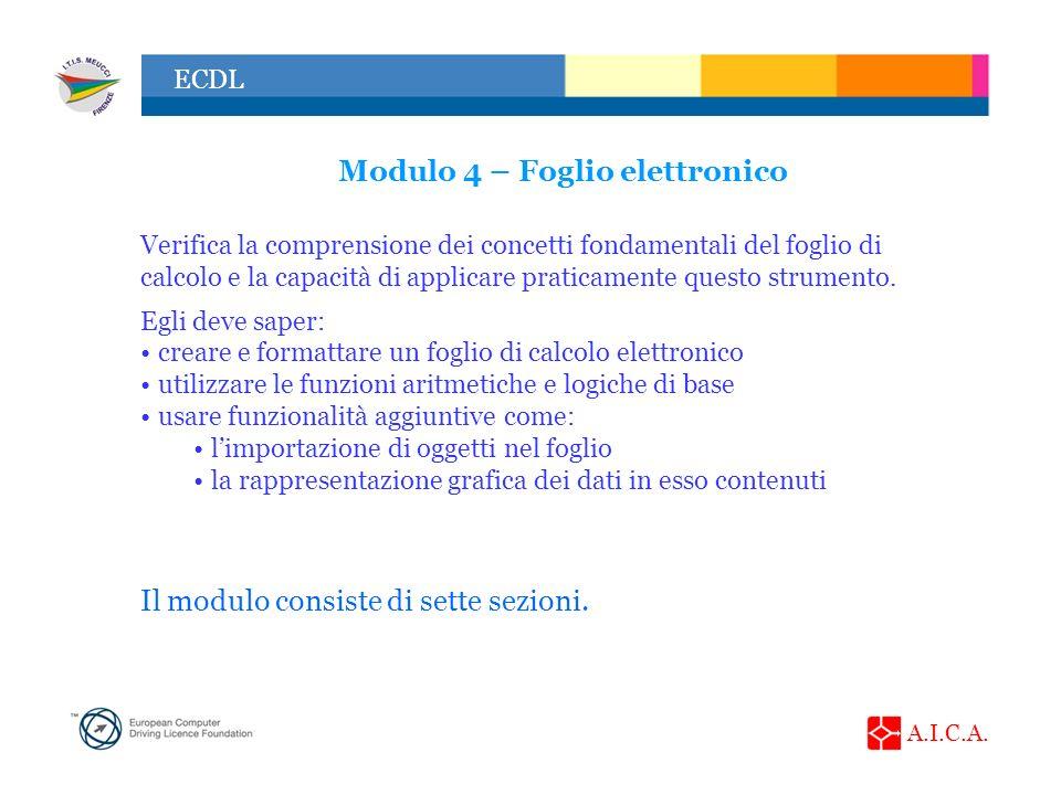 A.I.C.A. ECDL Modulo 4 – Foglio elettronico Verifica la comprensione dei concetti fondamentali del foglio di calcolo e la capacità di applicare pratic