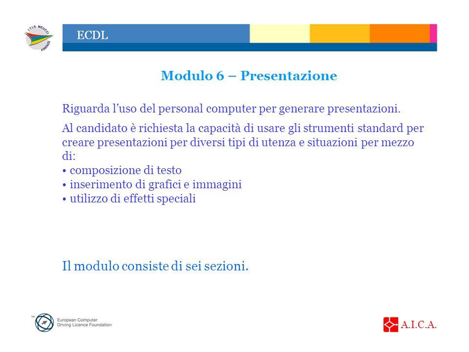 A.I.C.A. ECDL Modulo 6 – Presentazione Riguarda luso del personal computer per generare presentazioni. Al candidato è richiesta la capacità di usare g