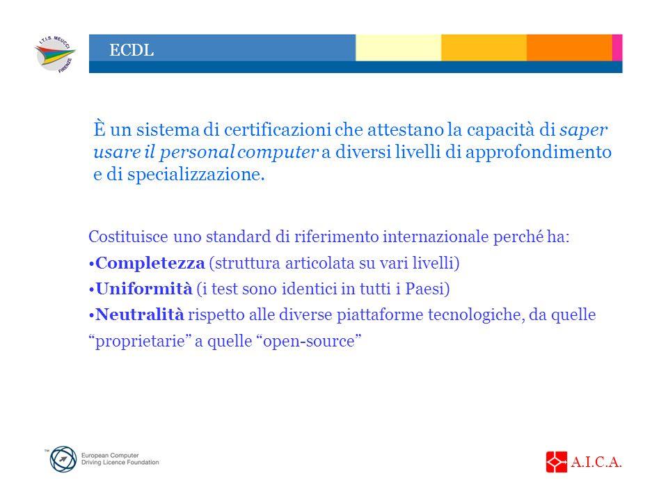 A.I.C.A. ECDL È un sistema di certificazioni che attestano la capacità di saper usare il personal computer a diversi livelli di approfondimento e di s