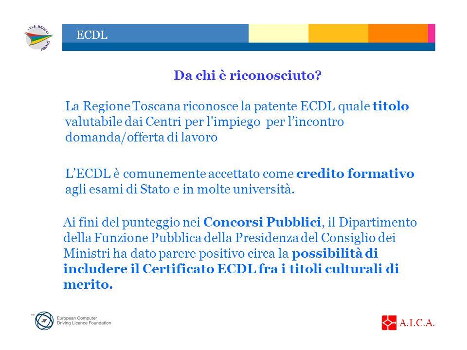 A.I.C.A. ECDL Da chi è riconosciuto? LECDL è comunemente accettato come credito formativo agli esami di Stato e in molte università. Ai fini del punte