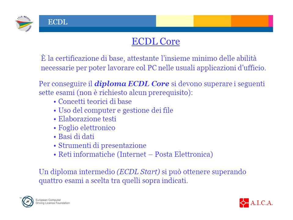 A.I.C.A. ECDL ECDL Core È la certificazione di base, attestante linsieme minimo delle abilità necessarie per poter lavorare col PC nelle usuali applic