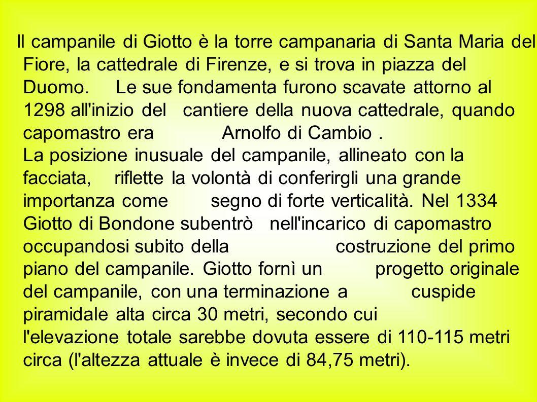 Il campanile di Giotto è la torre campanaria di Santa Maria del Fiore, la cattedrale di Firenze, e si trova in piazza del Duomo. Le sue fondamenta fur