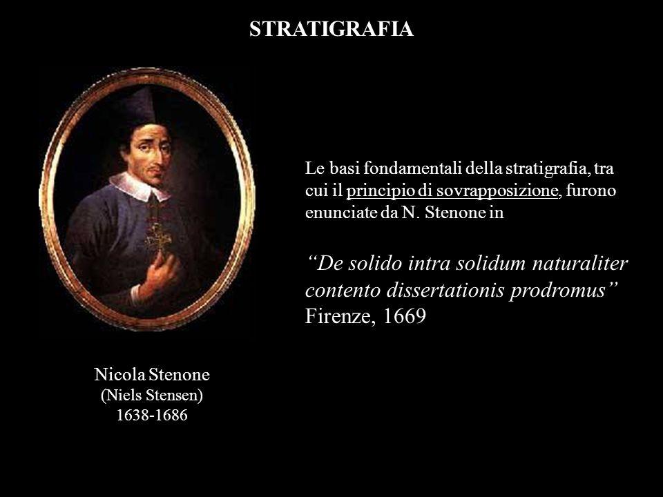 STRATIGRAFIA Le basi fondamentali della stratigrafia, tra cui il principio di sovrapposizione, furono enunciate da N. Stenone in De solido intra solid