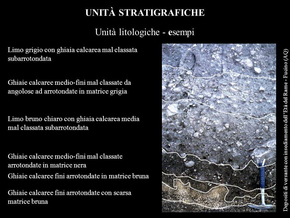 UNITÀ STRATIGRAFICHE Unità litologiche - esempi Ghiaie calcaree fini arrotondate con scarsa matrice bruna Ghiaie calcaree fini arrotondate in matrice