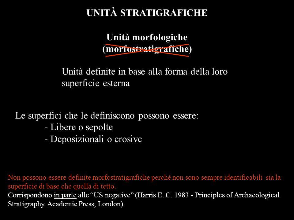 UNITÀ STRATIGRAFICHE Unità morfologiche (morfostratigrafiche) Unità definite in base alla forma della loro superficie esterna Le superfici che le defi