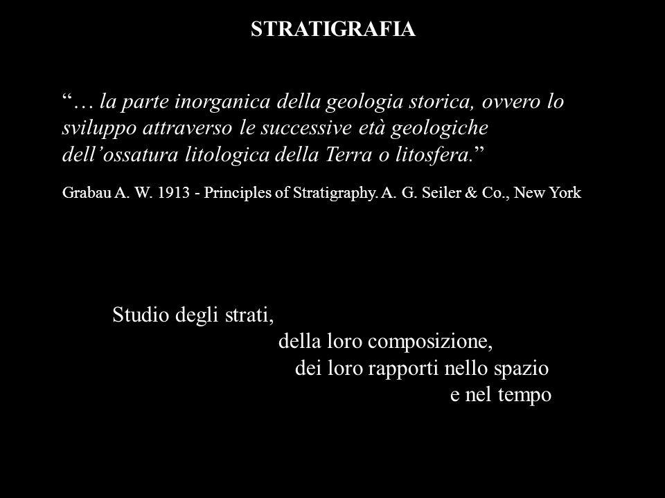 STRATIGRAFIA Studio degli strati, della loro composizione, dei loro rapporti nello spazio e nel tempo … la parte inorganica della geologia storica, ov