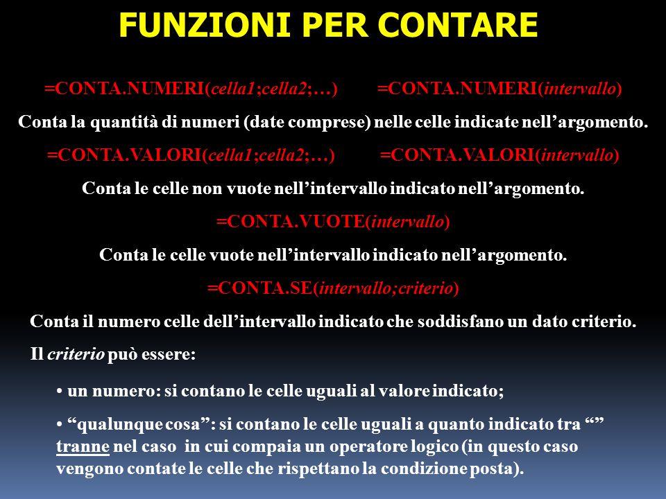 =CONTA.NUMERI(cella1;cella2;…)=CONTA.NUMERI(intervallo) Conta la quantità di numeri (date comprese) nelle celle indicate nellargomento. =CONTA.VALORI(