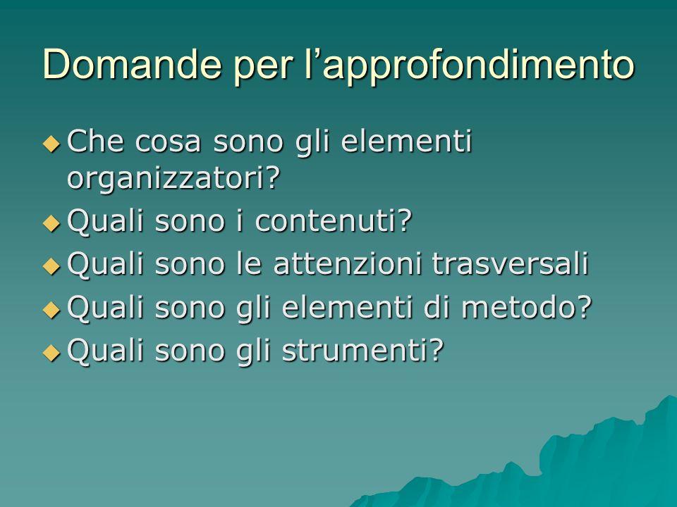 Domande per lapprofondimento Che cosa sono gli elementi organizzatori? Che cosa sono gli elementi organizzatori? Quali sono i contenuti? Quali sono i