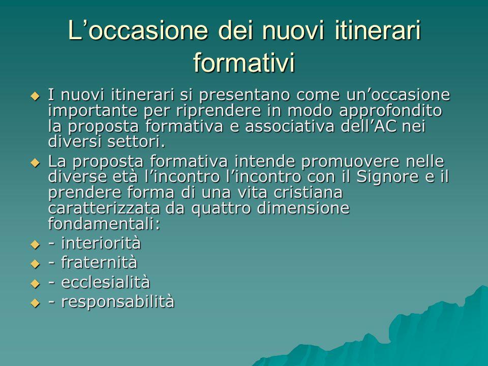 Loccasione dei nuovi itinerari formativi I nuovi itinerari si presentano come unoccasione importante per riprendere in modo approfondito la proposta f