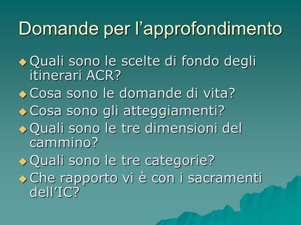 Domande per lapprofondimento Quali sono le scelte di fondo degli itinerari ACR? Quali sono le scelte di fondo degli itinerari ACR? Cosa sono le domand