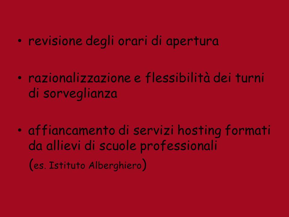 revisione degli orari di apertura razionalizzazione e flessibilità dei turni di sorveglianza affiancamento di servizi hosting formati da allievi di scuole professionali ( es.