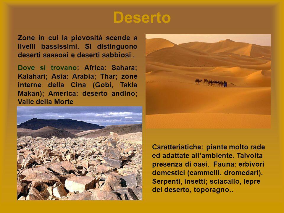 Deserto Zone in cui la piovosità scende a livelli bassissimi. Si distinguono deserti sassosi e deserti sabbiosi. Dove si trovano: Africa: Sahara; Kala