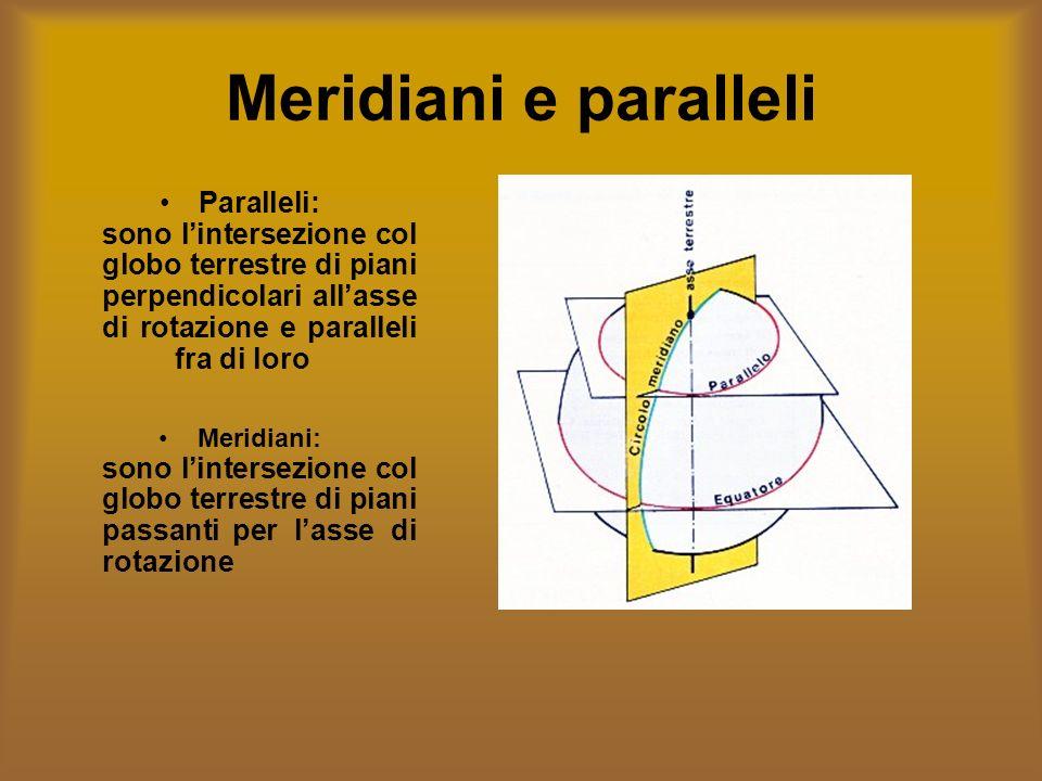 Meridiani e paralleli Paralleli: sono lintersezione col globo terrestre di piani perpendicolari allasse di rotazione e paralleli fra di loro Meridiani