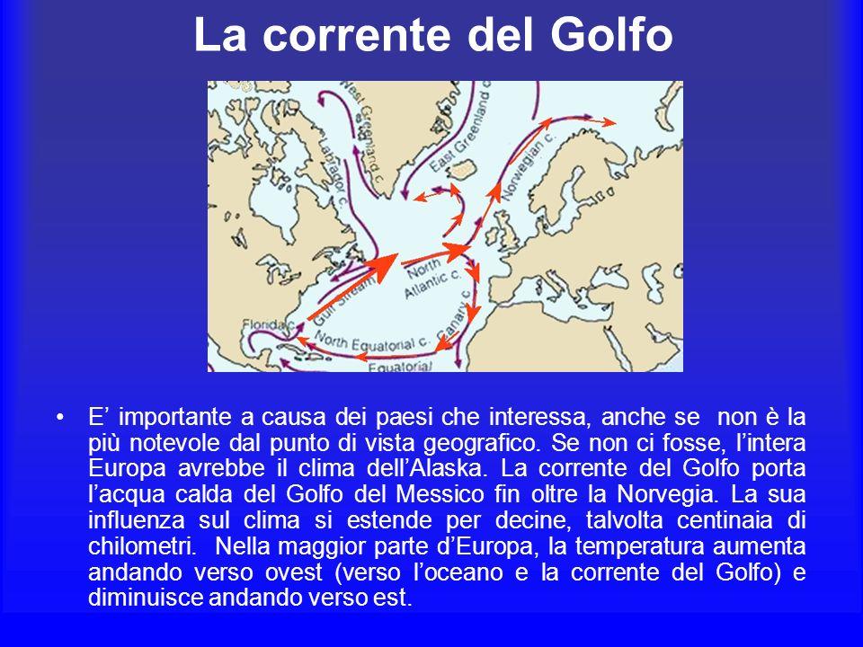 La corrente del Golfo E importante a causa dei paesi che interessa, anche se non è la più notevole dal punto di vista geografico. Se non ci fosse, lin