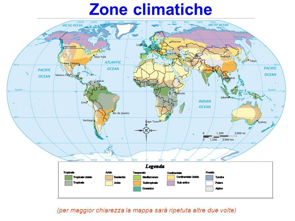 Le zone climatiche I climi possono distinguersi in: Subtropicale umido: Sud della Cina, valle del Gange, Florida stati del sud USA, Uruguay Oceanico: Europa del Nord, Cile del sud, costa canadese del Pacifico Continentale umido: zona dei Grandi Laghi, Russia europea, Cina (Pekino e Manciuria) (Ricercate le zone sulla mappa che segue)