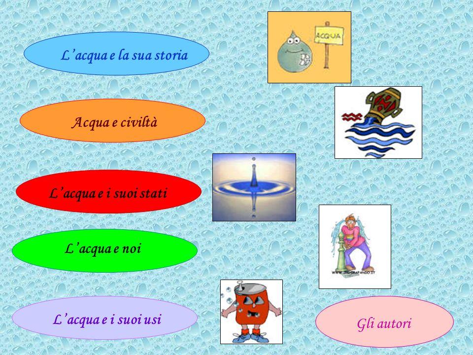 Lacqua e la sua storia Acqua e civiltà Lacqua e i suoi stati Lacqua e noi Lacqua e i suoi usi Gli autori