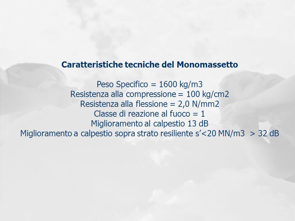 Caratteristiche tecniche del Monomassetto Peso Specifico = 1600 kg/m3 Resistenza alla compressione = 100 kg/cm2 Resistenza alla flessione = 2,0 N/mm2