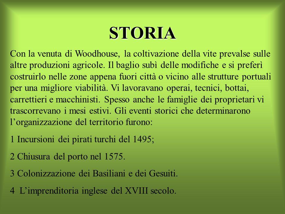 STORIA Con la venuta di Woodhouse, la coltivazione della vite prevalse sulle altre produzioni agricole.