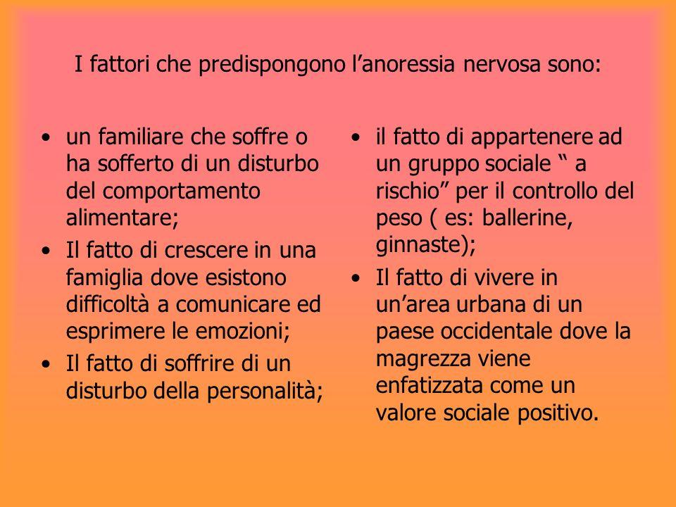 I fattori che predispongono lanoressia nervosa sono: un familiare che soffre o ha sofferto di un disturbo del comportamento alimentare; Il fatto di cr