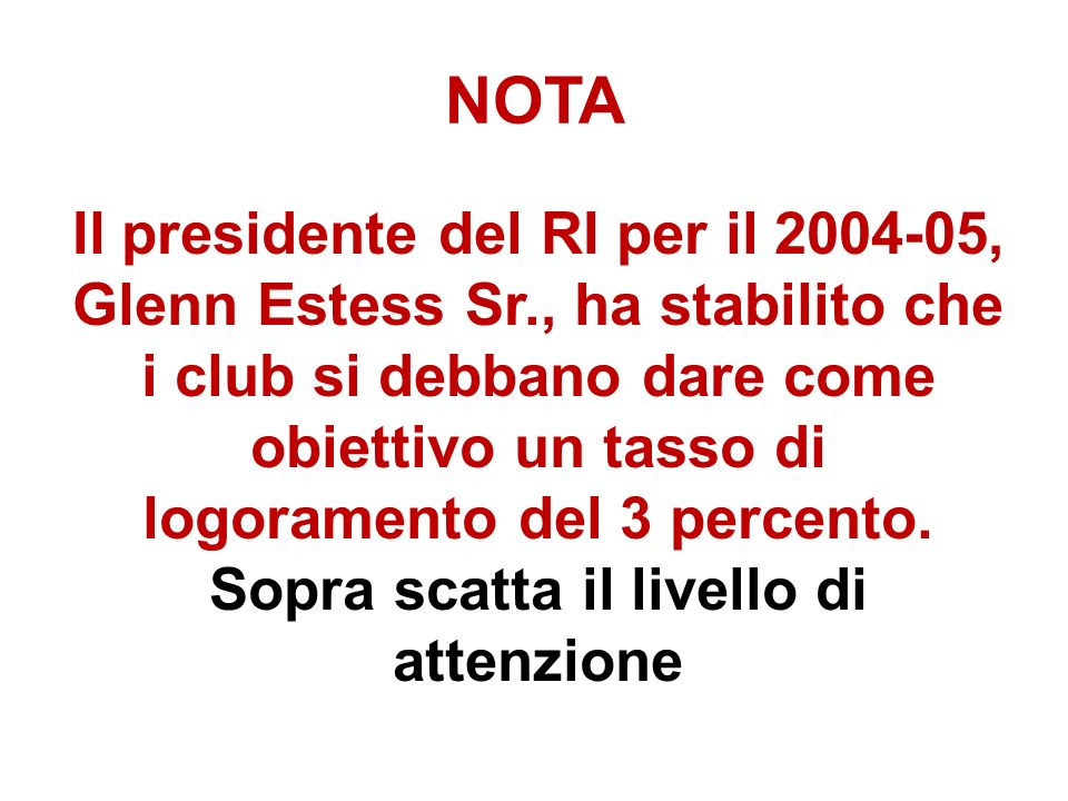NOTA Il presidente del RI per il 2004-05, Glenn Estess Sr., ha stabilito che i club si debbano dare come obiettivo un tasso di logoramento del 3 percento.