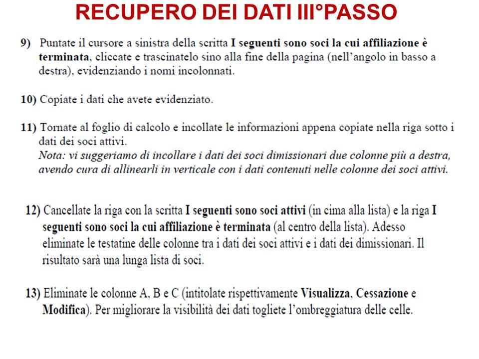 RECUPERO DEI DATI III°PASSO