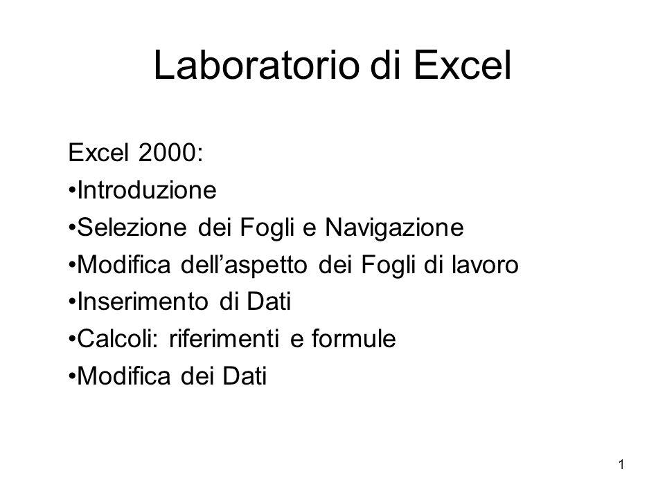 1 Laboratorio di Excel Excel 2000: Introduzione Selezione dei Fogli e Navigazione Modifica dellaspetto dei Fogli di lavoro Inserimento di Dati Calcoli: riferimenti e formule Modifica dei Dati
